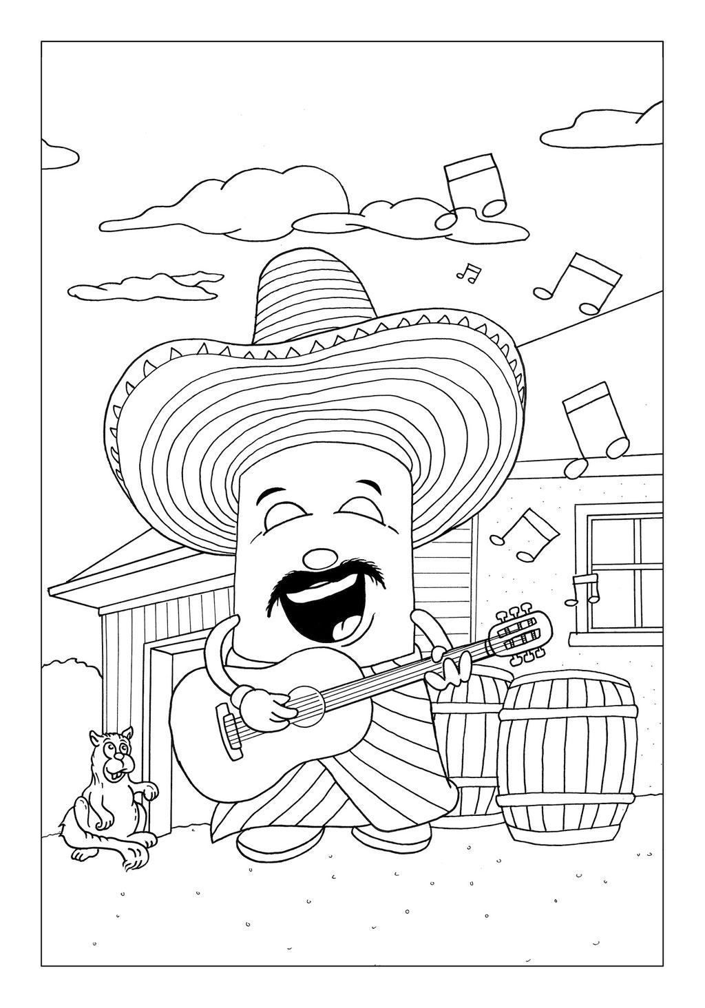 Vitogaz Kinder-Malbuch: Idee Zeichnung und Illustration: als Gitarren Spieler (Mariachi) in Mexico