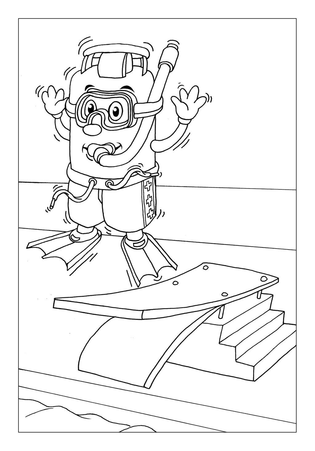 Vitogaz Kinder-Malbuch: Idee Zeichnung und Illustration: mit Taucher-Brille auf dem Sprungbrett im Freibad