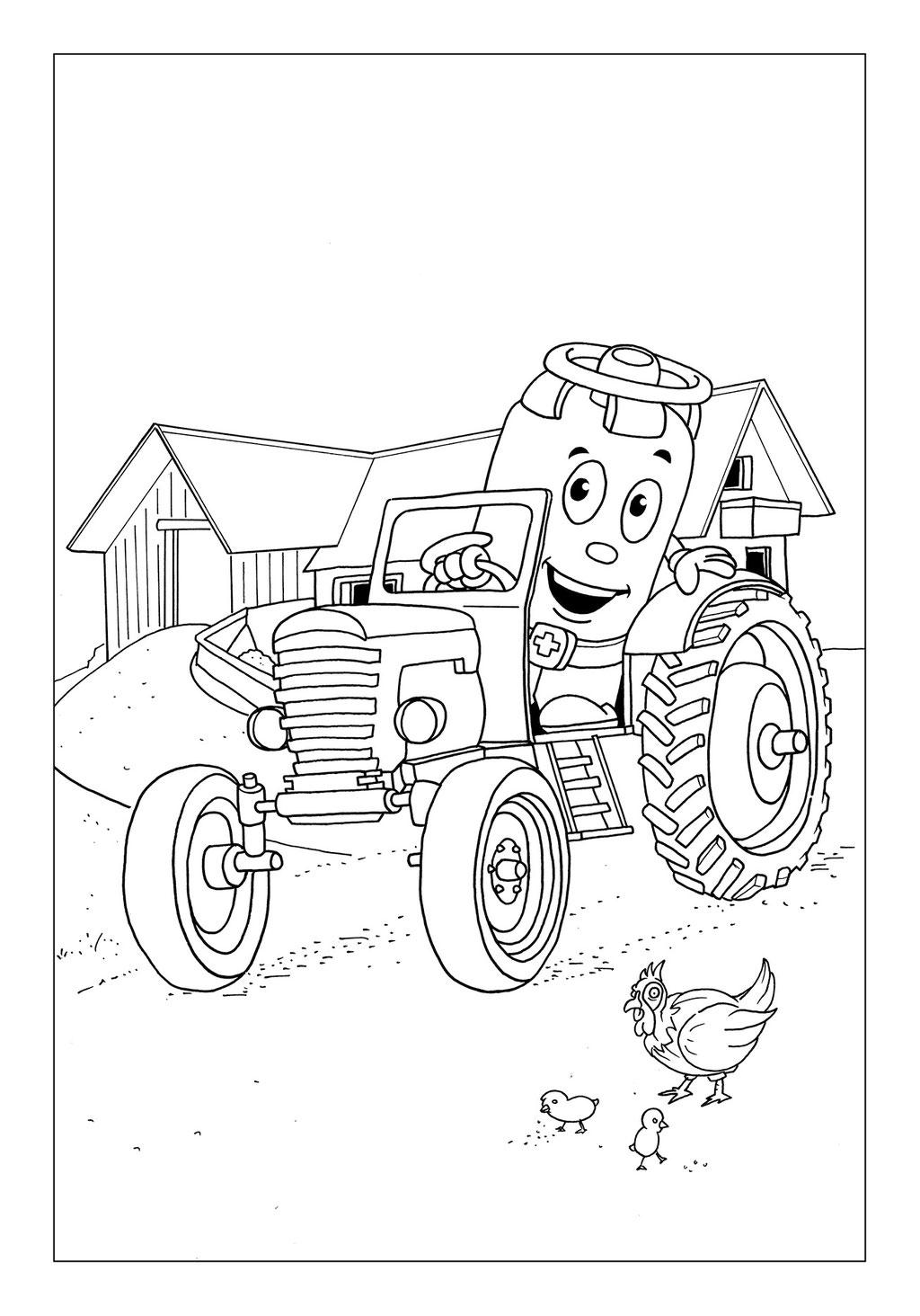 Vitogaz Kinder-Malbuch: Idee Zeichnung und Illustration: auf dem Traktor vor dem Bauernhof
