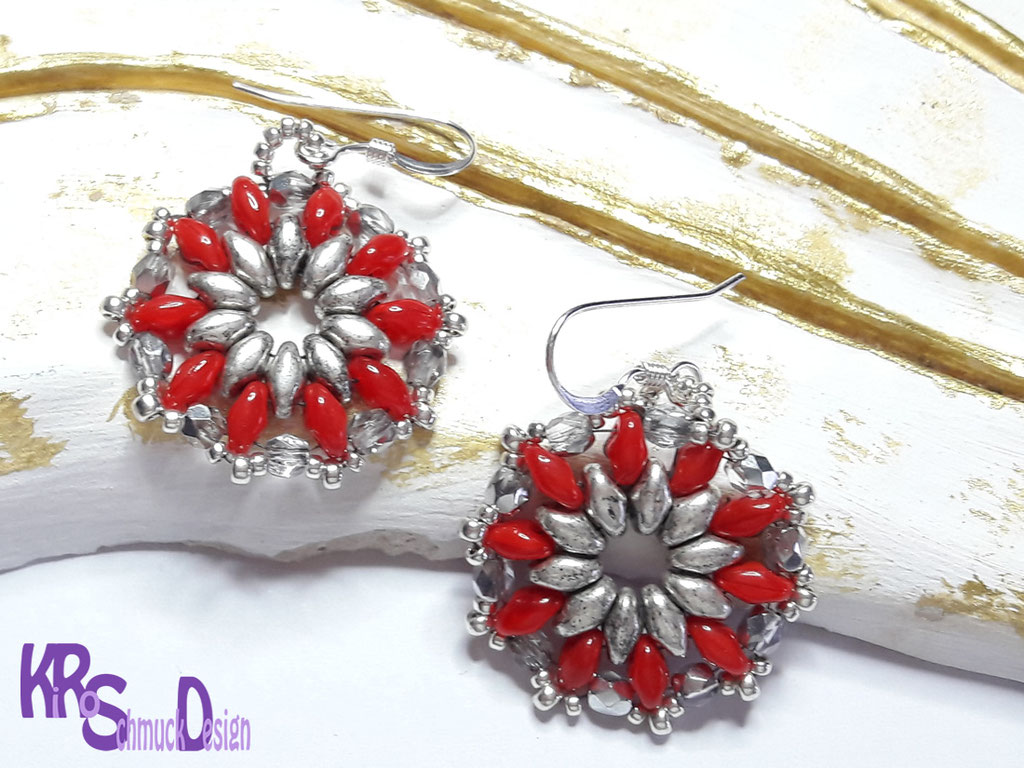 Runde Ohrhänger in Rot/Silber