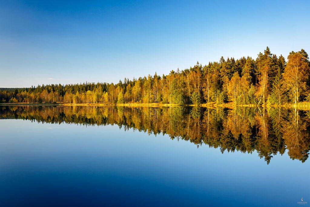Herbst am Schwarzen Teich bei Elterlein