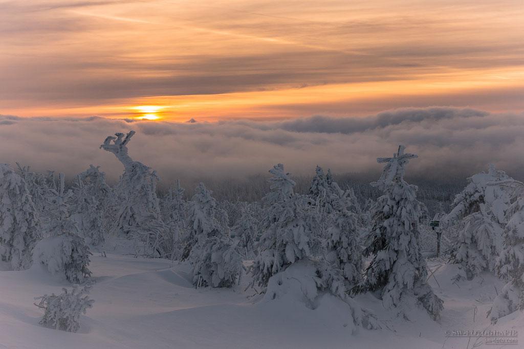 Sonnenuntergang auf dem Fichtelberg
