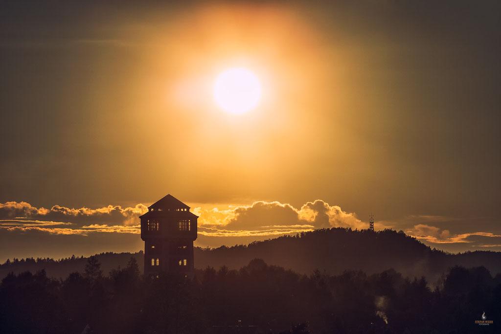 Sonnenuntergangsstimmung über Oelsnitz (Erzgebirge)