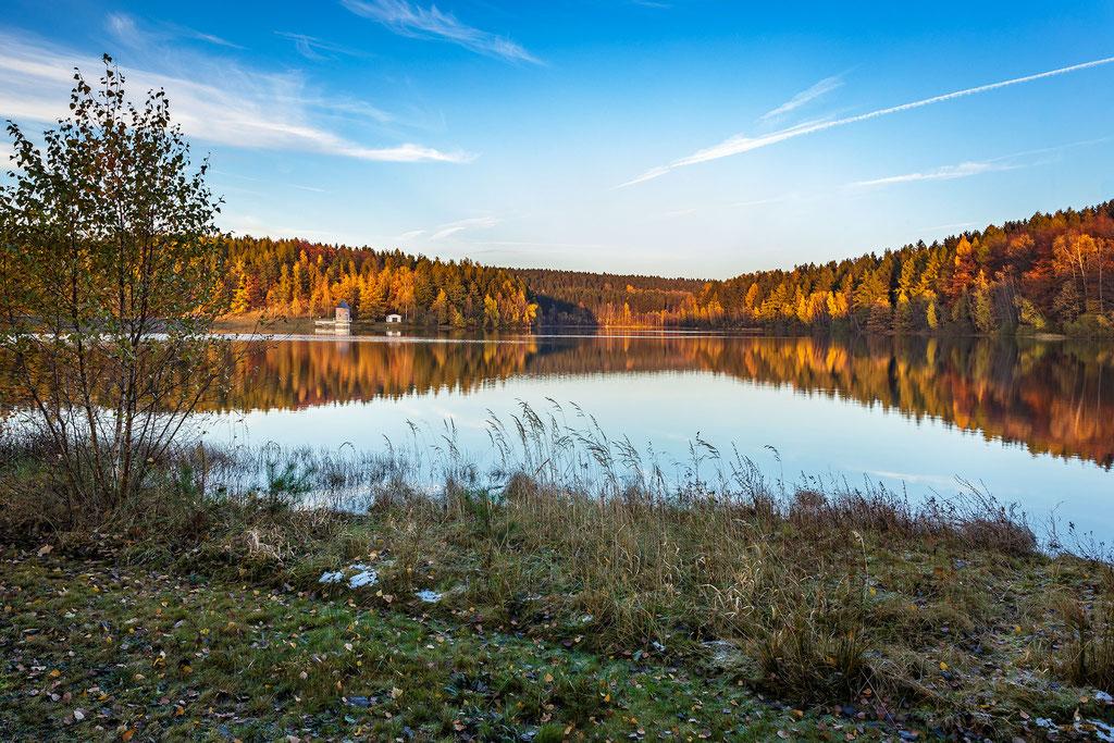 Spiegelung an der Talsperre Stollberg