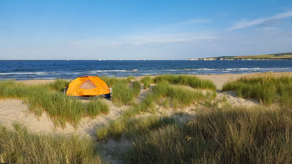 Camping on Studland Bay, a few 100m before the end in South Haven Point