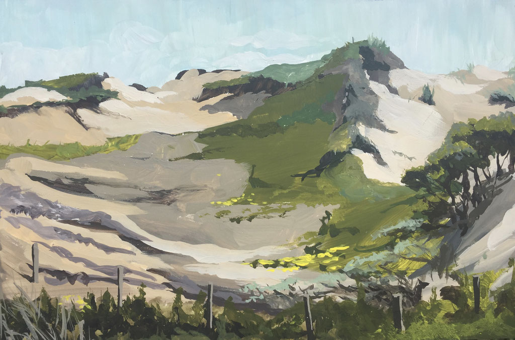 Coepelduynen, gouache on panel 20x30cm by Philine van der Vegte
