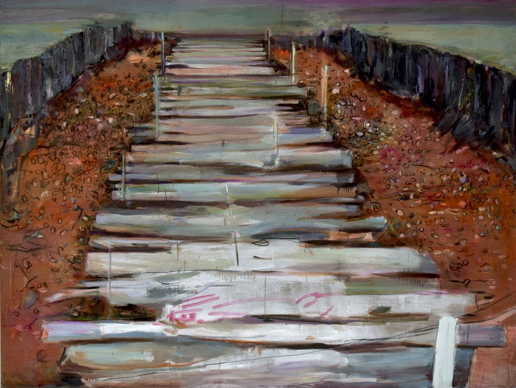 Moorbrücke 2019, oil on canvas 180 x 240 cm |Photo: Klaus Michalek