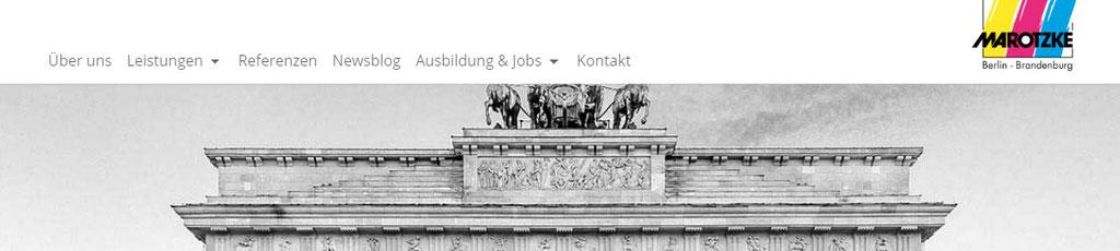 Die Malerei Marotzke für potentielle Bewerber bereits in der Menüleiste zur Karriereseite ...