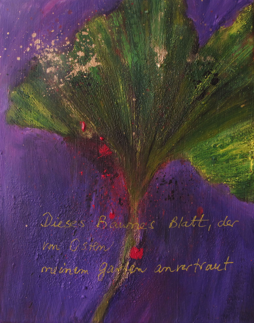 Goethe's Blatt 30 x 24 x 1,5 cm acryl/gouache on canvas - sold Germany