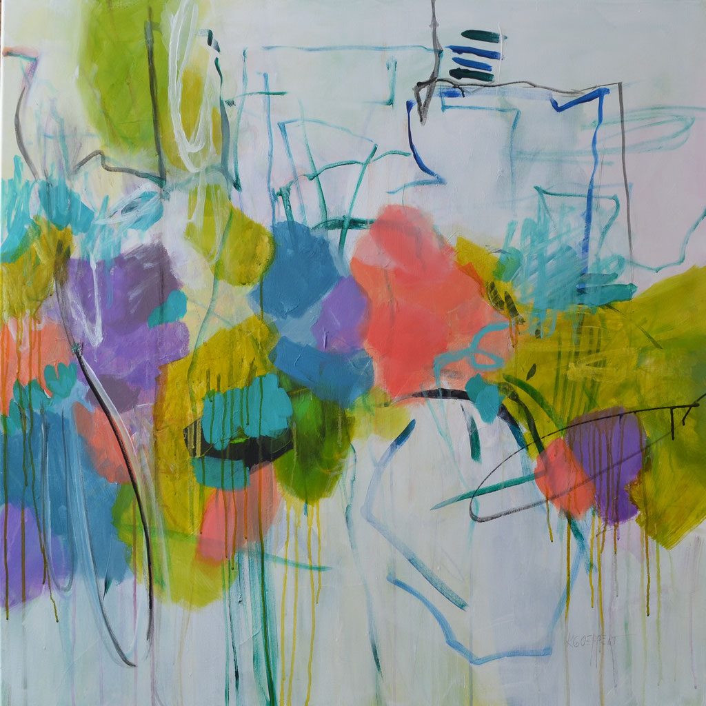 Mikado  100 x 100 x 2 cm / 39.4 x 39.4 x 0.76 in - acrylic, paper collage, ink on canvas