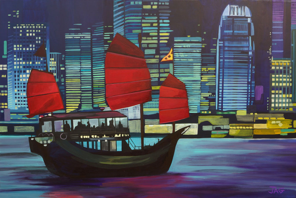 'Fragrant Harbour' acrylic on canvas, 2020, 90 x 60cm - SOLD