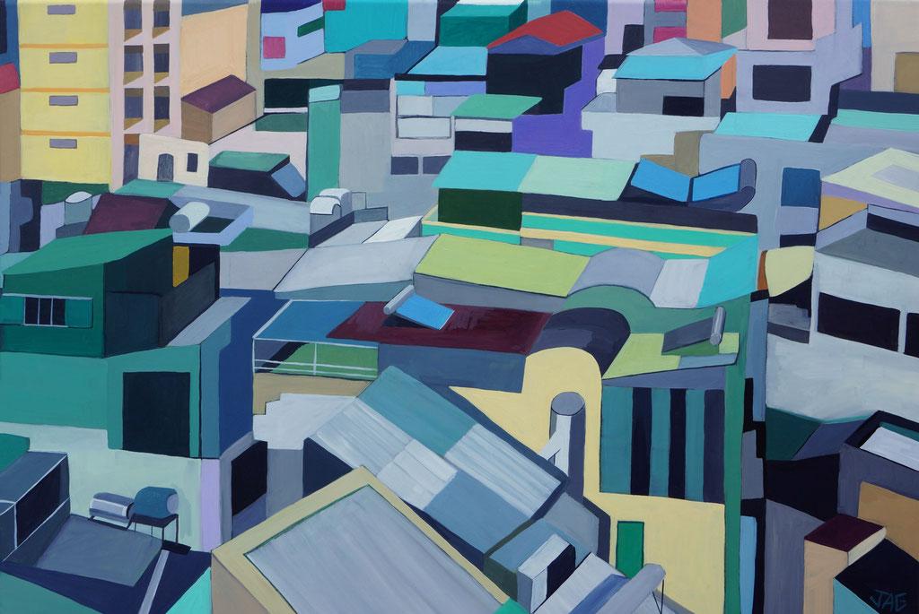 'George Town' acrylic on canvas, 90 x 60cm, 2020 - £700