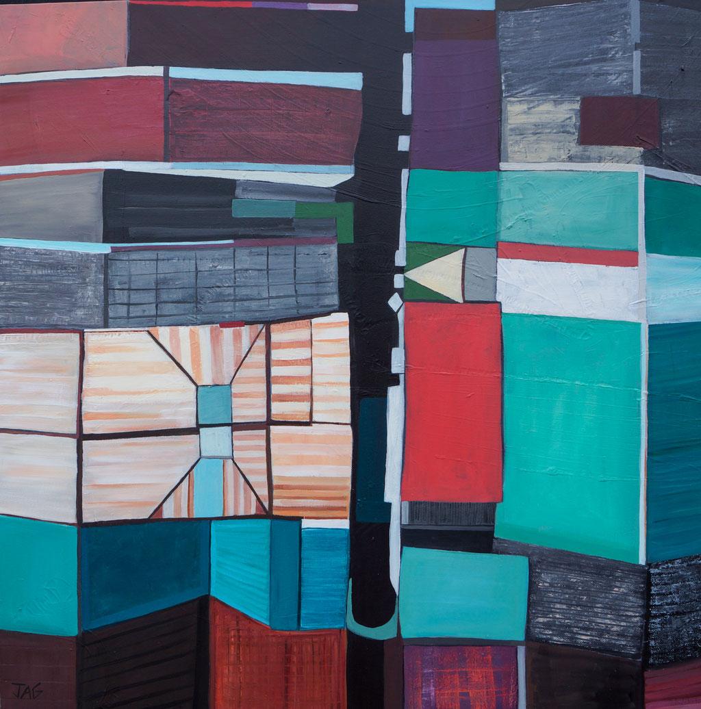 'Tin City' acrylic on canvas, 100 x 100cm, 2021 - SOLD