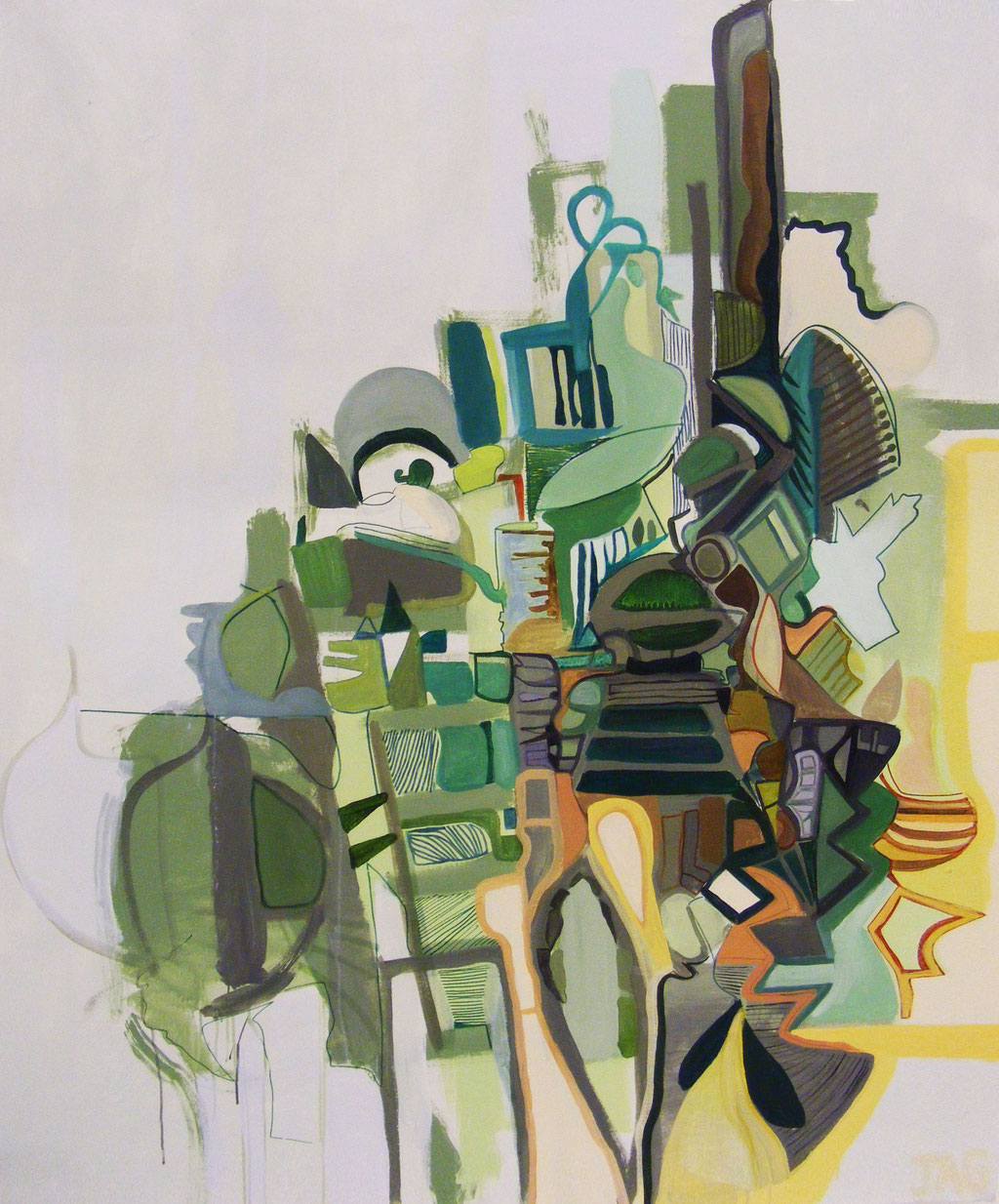'Emerald Mountain' oil, acrylic and emulsion on canvas, 2009 - SOLD