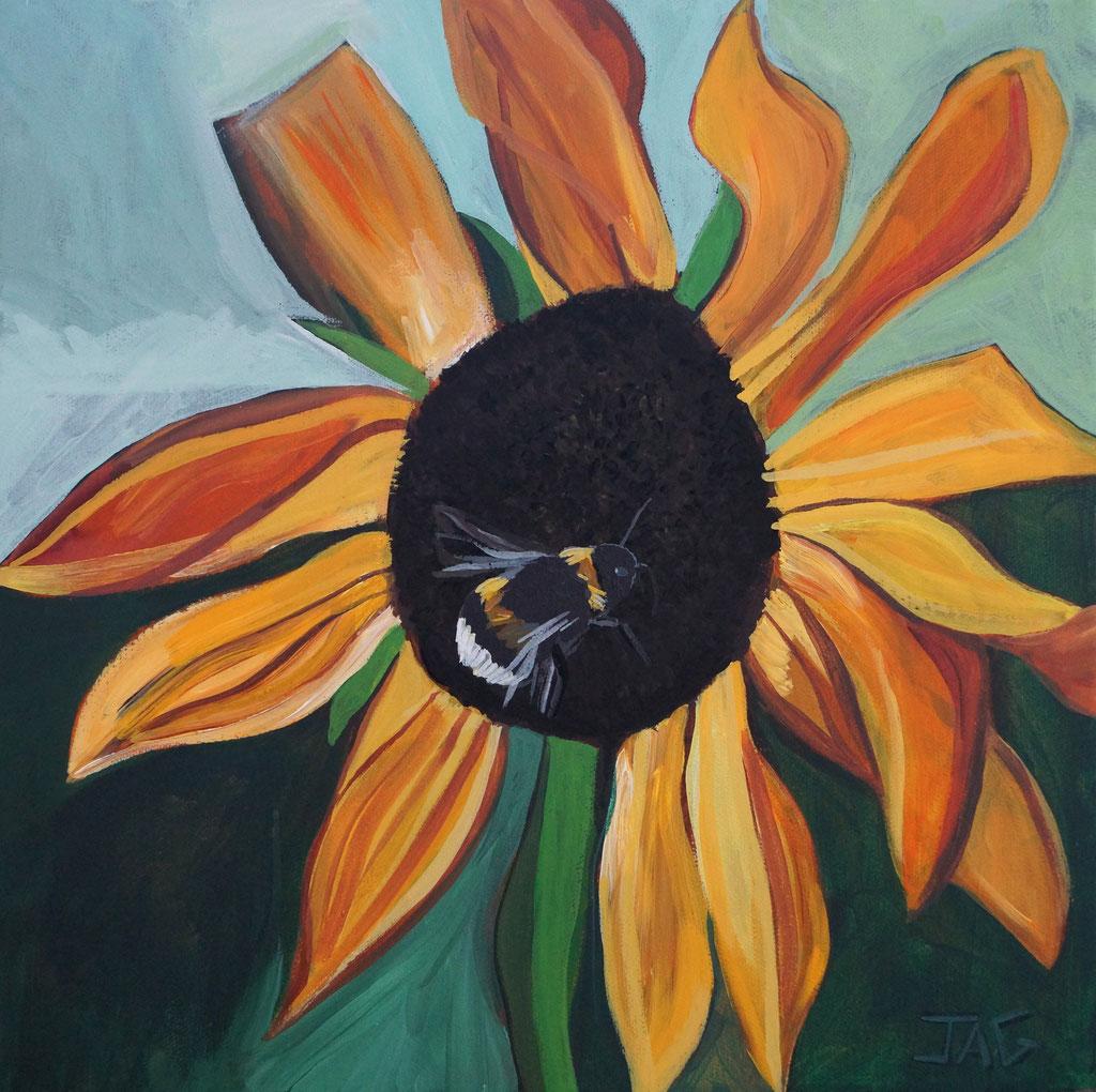 'Sun Buzz' acrylic on canvas, 2020, 40 x 40cm - price on request