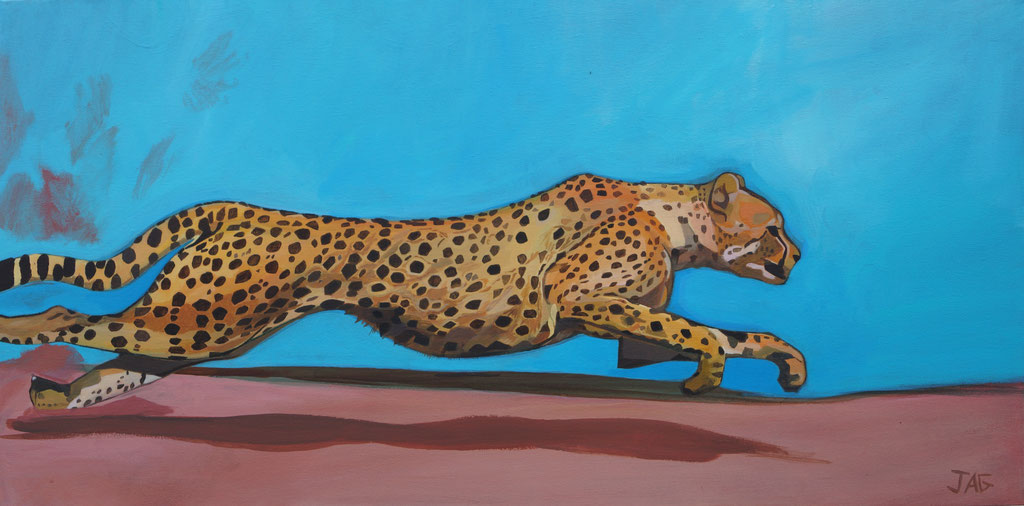 'Hot Pursuit' acrylic on canvas, 2020, 100 x 50cm - SOLD