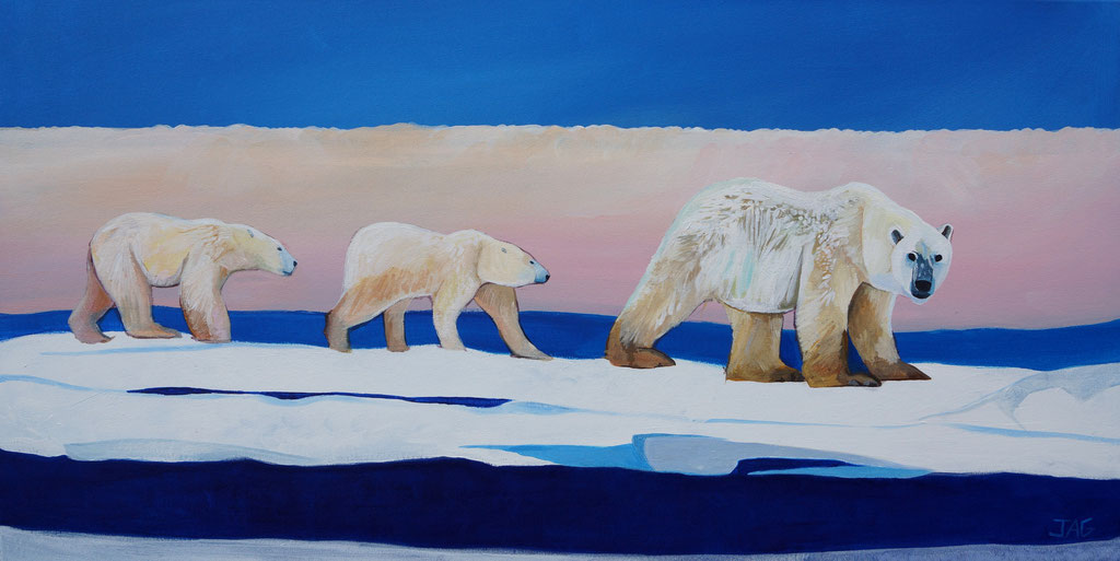 'Glacier' acrylic on canvas, 2020, 100 x  50cm - SOLD