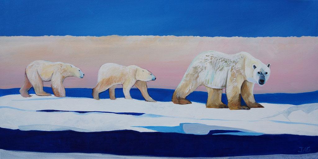 'Glacier' acrylic on canvas, 2020, 100 x  50cm - SOLD