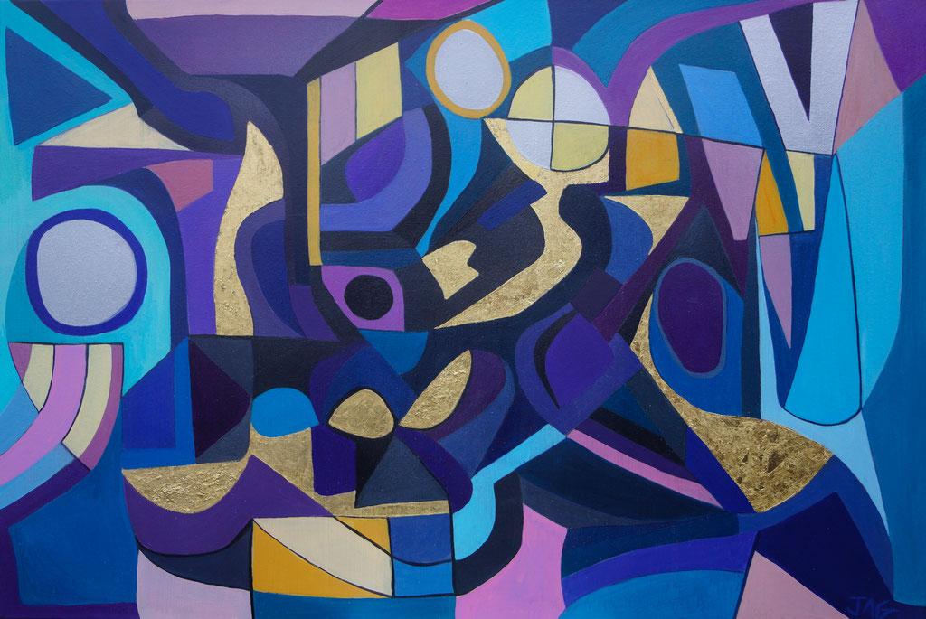 'Metamorphosis' acrylic, gold-leaf and spray-paint on canvas, 2020 - £650