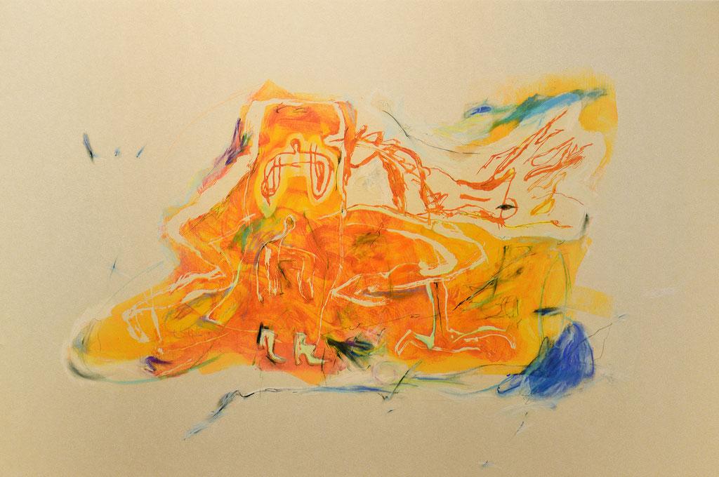 """""""クローゼット"""" W90×H60×D2.35cm(パネル) 油性木版,和紙,パステル,油彩,鉛筆"""