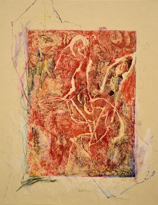 """""""蝶のための絵本"""" W32.5×H40.5×D0.5cm 油性木版,和紙,パステル,油彩,鉛筆"""