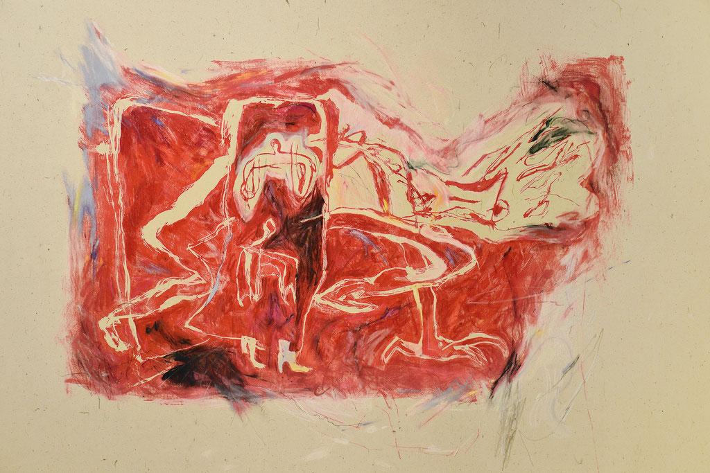 """""""クローゼット"""" W90×H60×D2.35cm(パネル) 油性木版,台湾紙,パステル,油彩,鉛筆"""