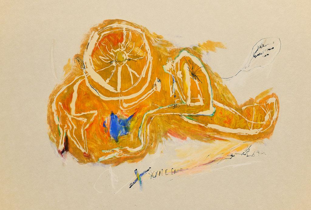 """""""診察"""" W65×H50×D2.35cm(パネル) 油性木版,和紙,パステル,油彩,鉛筆"""