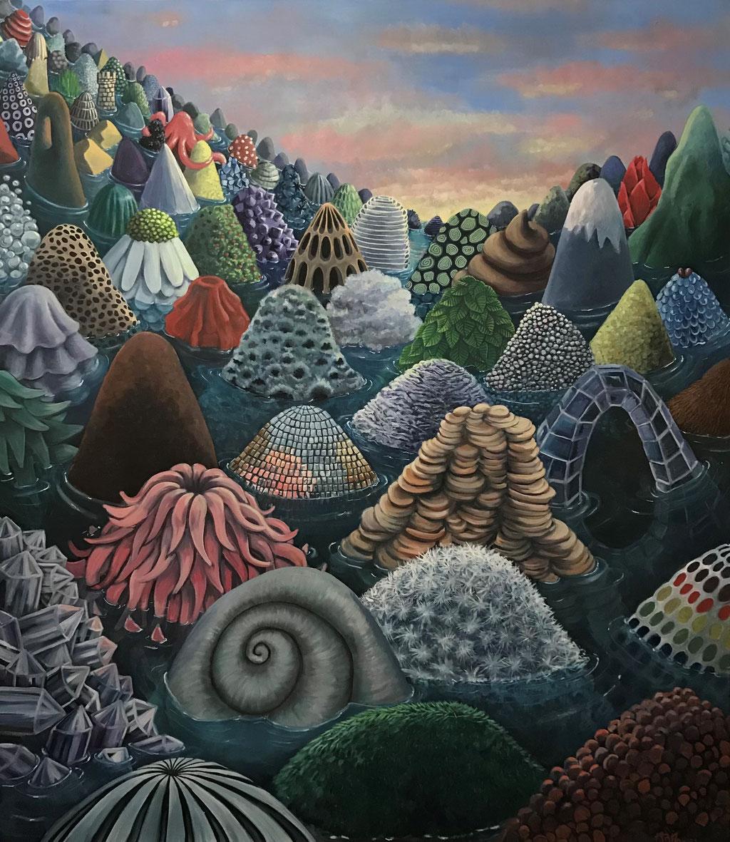 """Small Worlds, 160 x 140 cm, Eitempera auf Leinwand (sold) - """"Die Entstehung dieses Werks wurde durch ein Stipendium der Kulturstiftung des Freistaates Sachsen ermöglicht."""""""