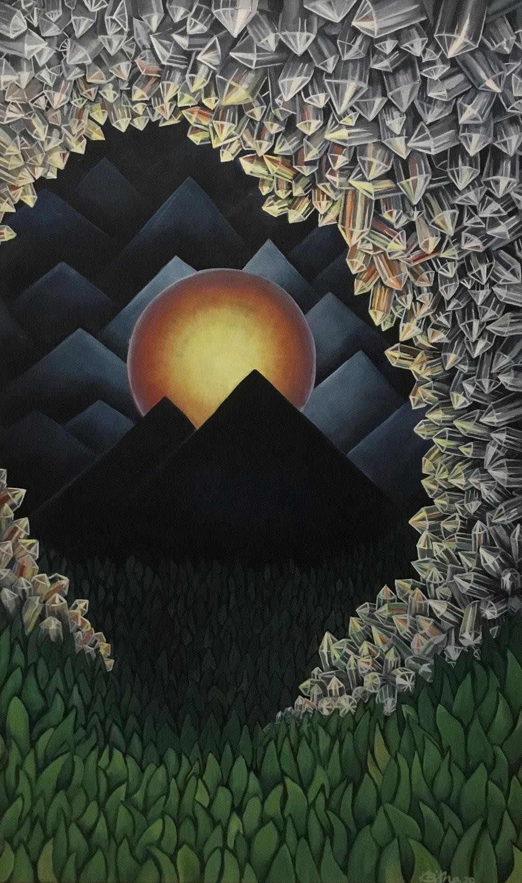 Bergkristalle (MountainCrystals), 100 x 60 cm, Eitempera auf Leinwand