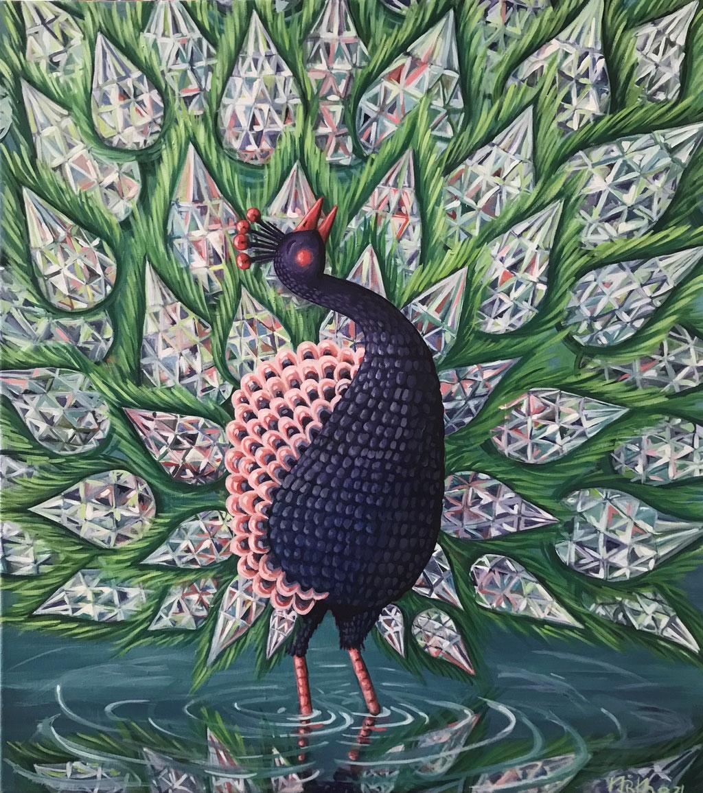 Peacock's Pride, 90 x 80 cm, Eggtempera on Canvas