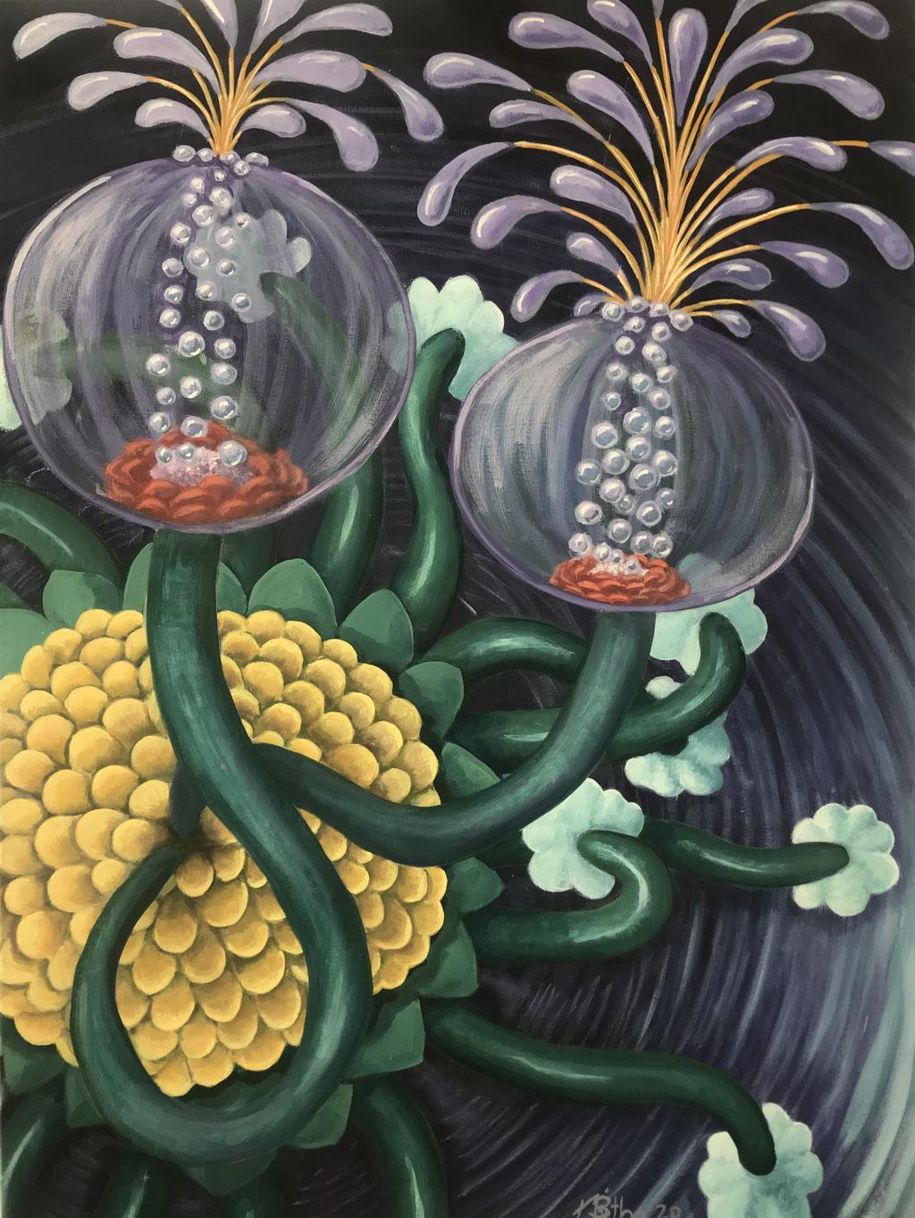 Nachtblume (Nightflower), 80 x 60 cm, Eitempera auf Leinwand