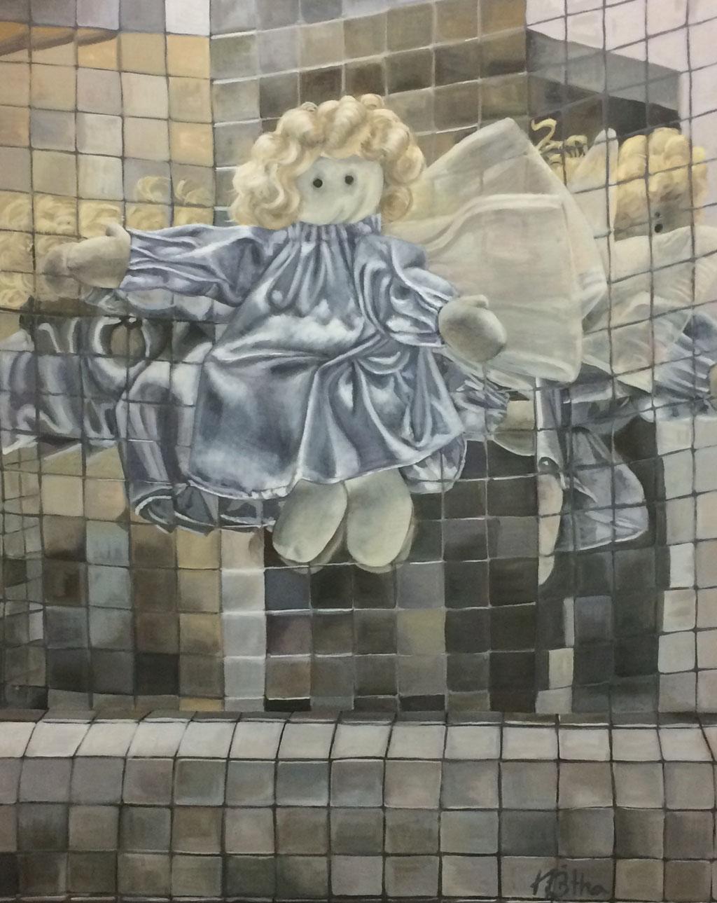 Konfuser Engel, 100x80cm, Eitempera auf Leinwand