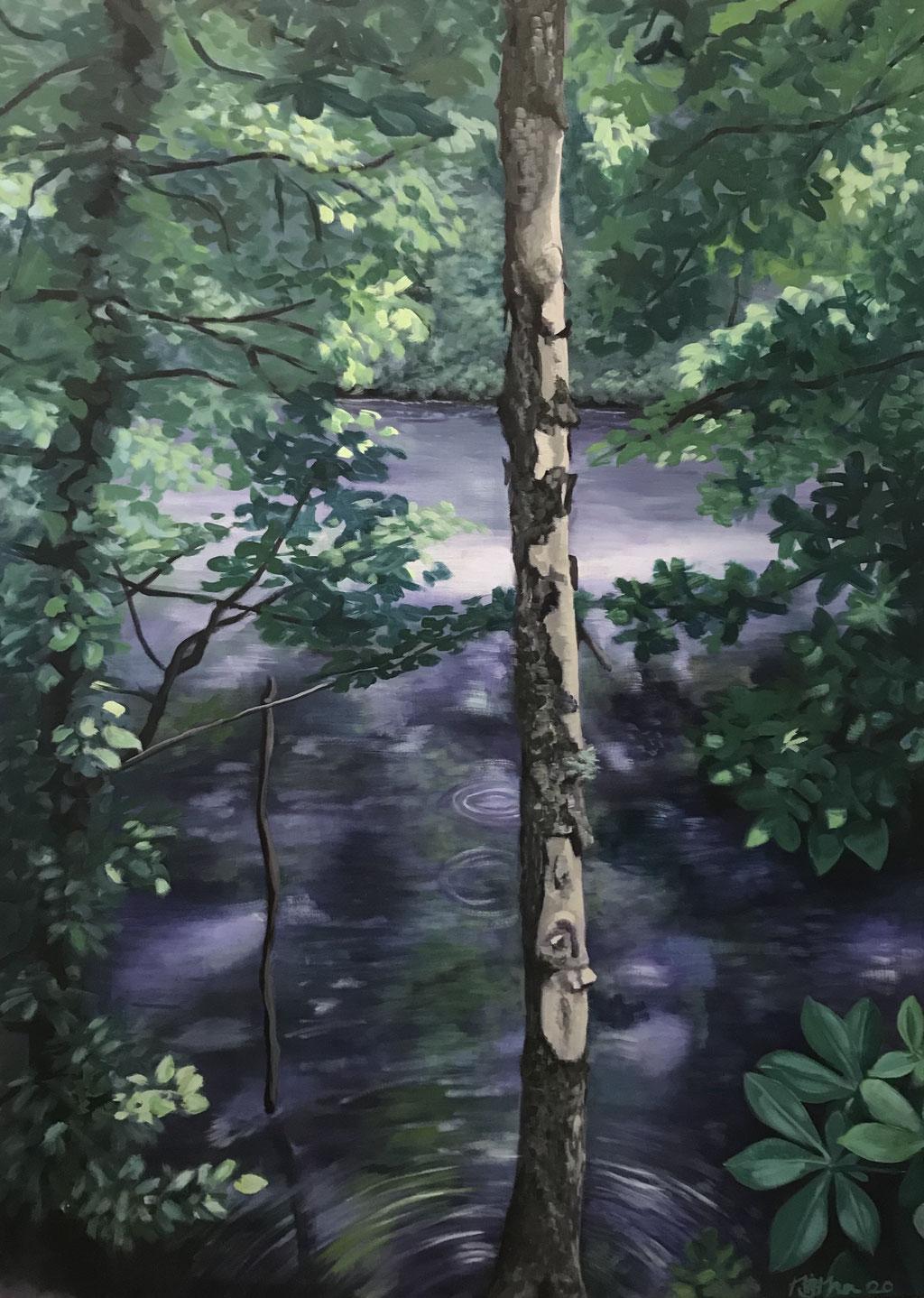 Wald, 110 x 80 cm, Eitempera auf Leinwand