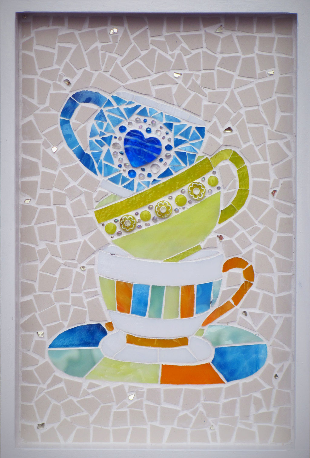 Coffee-Time, 20x30 cm Casani-Rahmen, Tiffanyglas, Millefiori, Steinzeug, Glaskiesel, Crackle-Glas