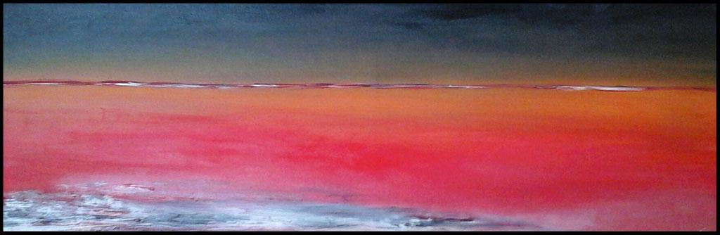 Entre Ciel et Terre 16: terre d'Islande, huile sur toile 88 x 30                              130€