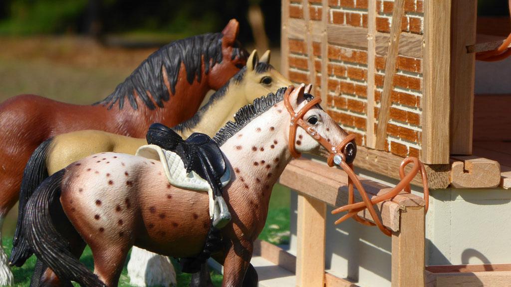 Schleich Pferde an Sattelkammer