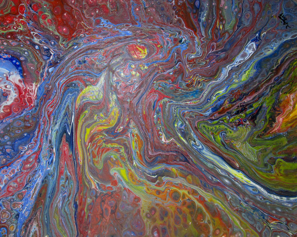 """""""Abstrakt I"""" Acryl auf Leinen (Pouring), 50x40cm"""