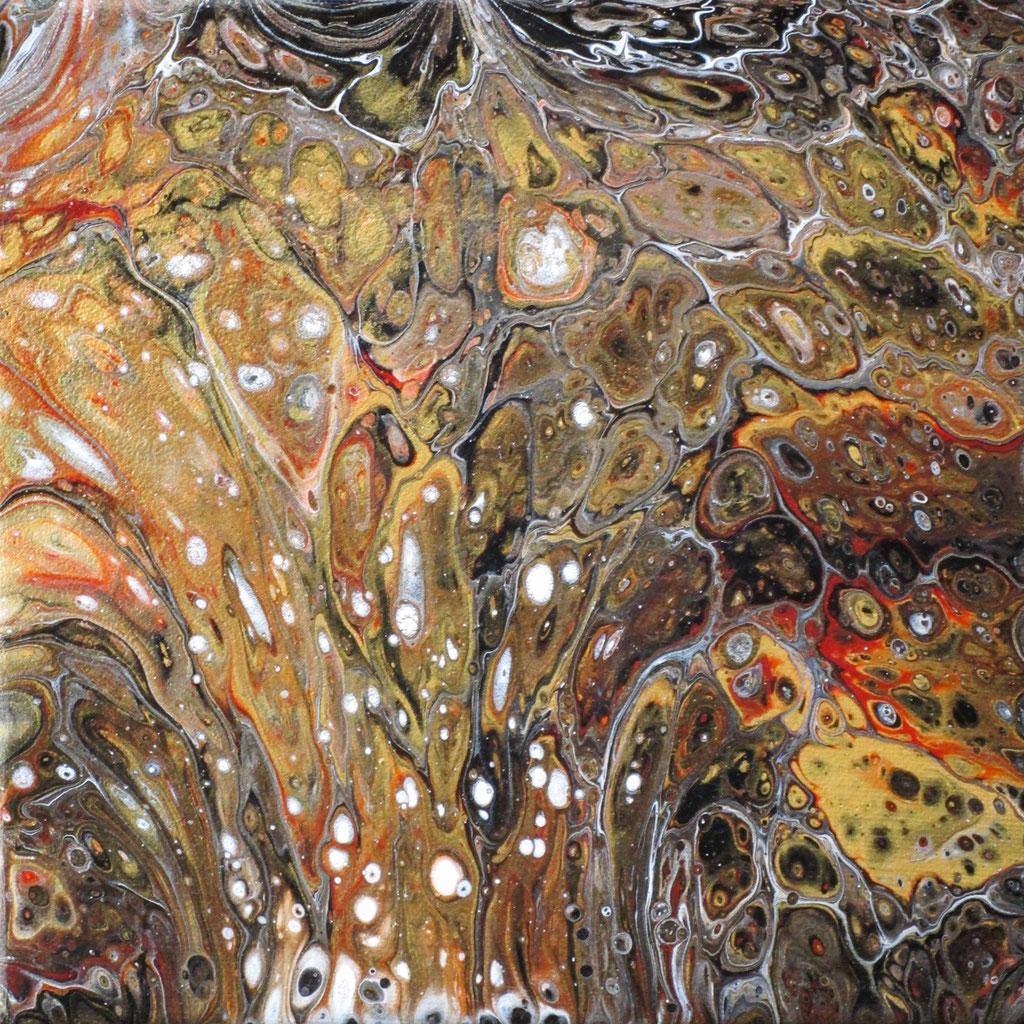 """Abstrakt II"" Acryl auf Leinen (Pouring), 20x20cm"
