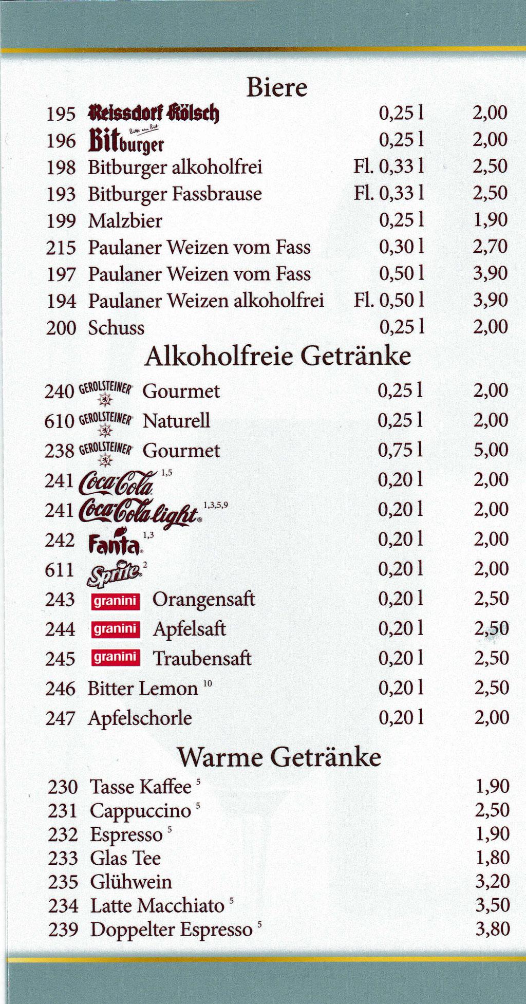 Dessert- und Getränkekarte - Restaurant Türnicher Hof Kerpen
