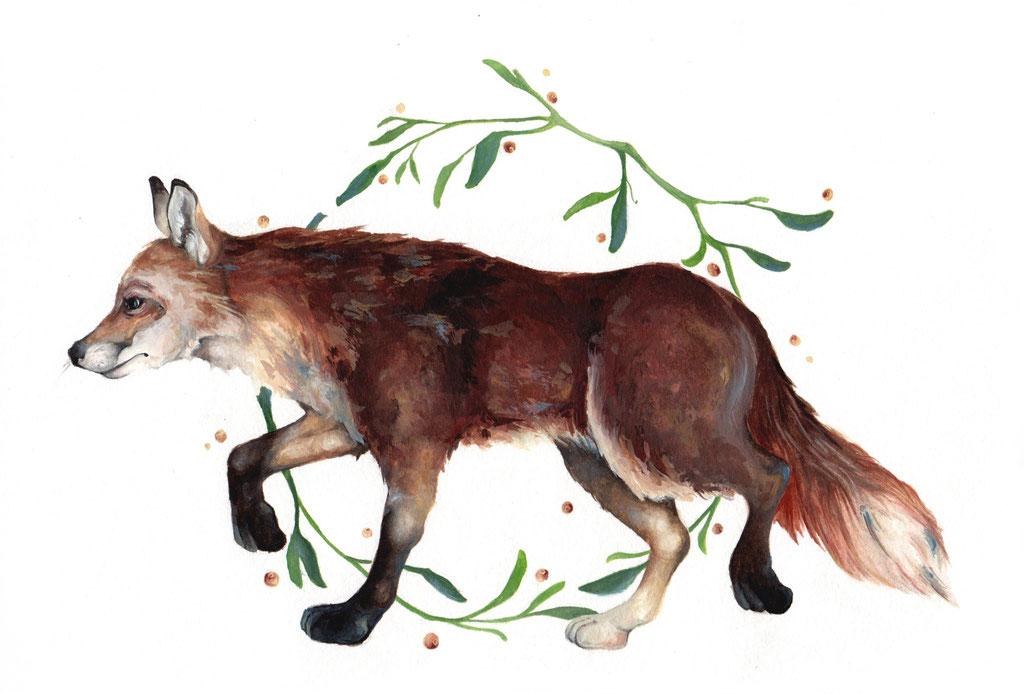 Red fox (Vulpes vulpes) I Watercolor I 21 x 29,7 cm
