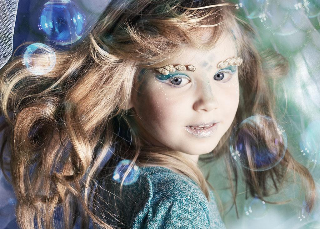 Meerjungfrau, Mädchen, Kinderportrait, Fantasyportrait, Fantasyfotografie, Inszenierte Kinderfotos, Kindergeburtstag