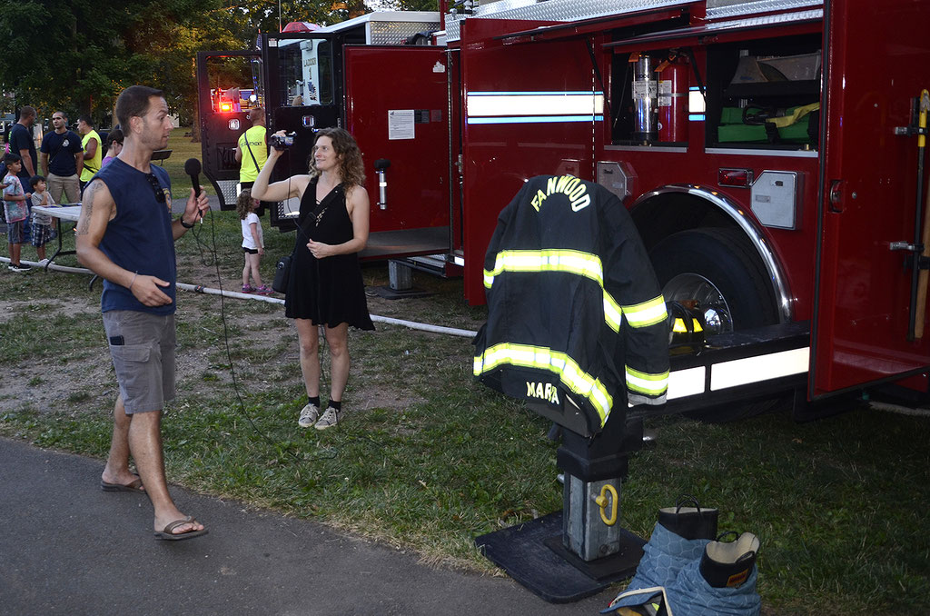 FF Marchica answering questions from the local news