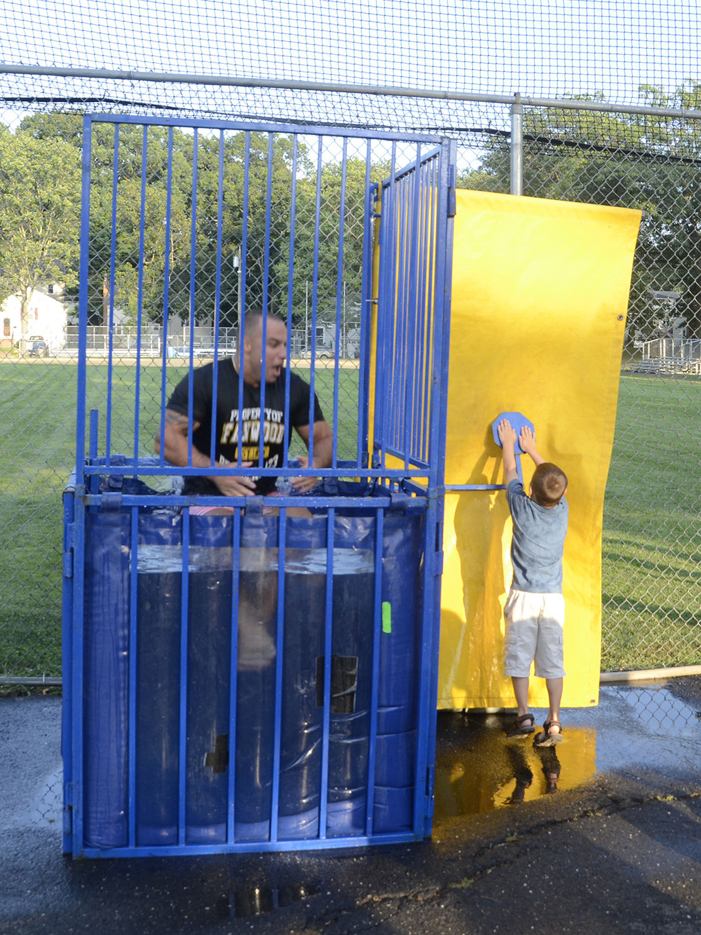 FF/Officer Piccola shown in the process of being dunked