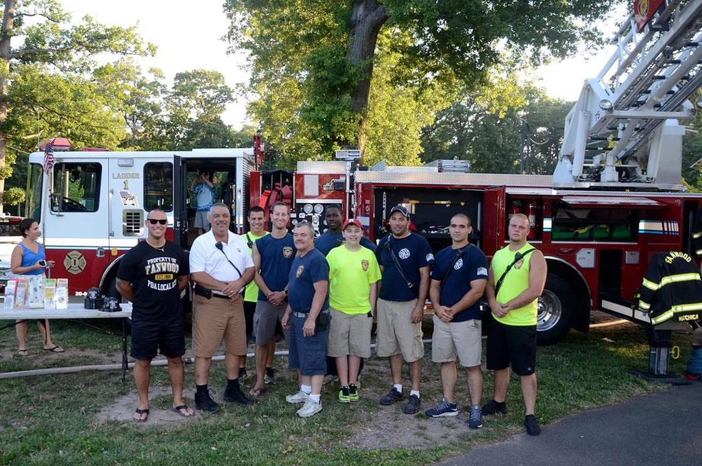 (l to r) Police Officer/FF Piccola, Chief Piccola, Capt. Piccola, FF Marchica, Asst Chief Zawodniak, FF Green, Jackson Dietl, Capt. Dietl,  FF Grasso, FF Ridge