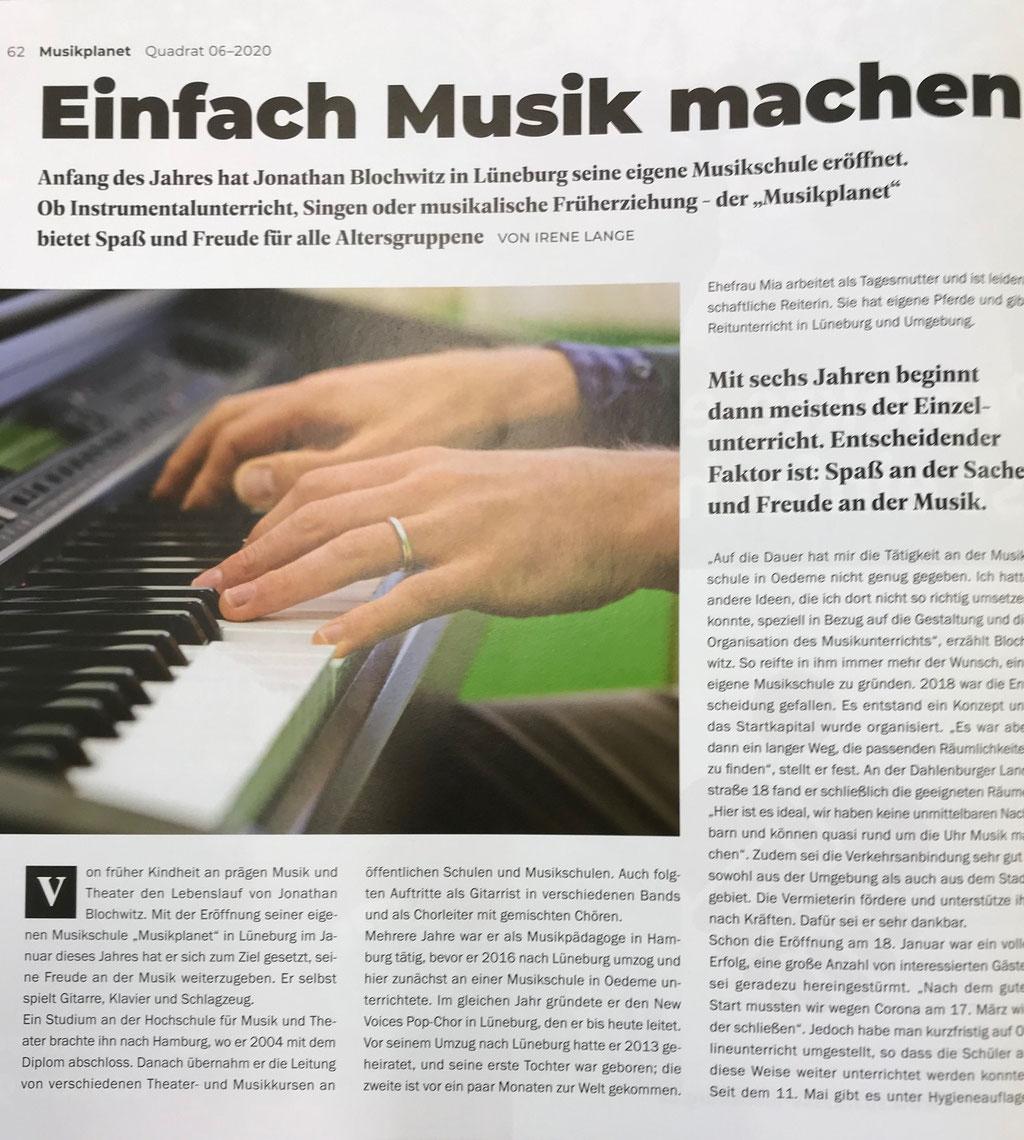 Musikschule Musikplanet Lüneburg im Quadrat Lüneburg Juni 2020