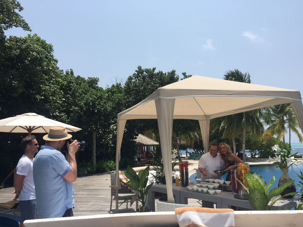 Fashion Shooting & Cooking Session by Michelin Chef Christoph Pentzin with German Actress Katja Flint at Hideaway Beach Resort & Spa