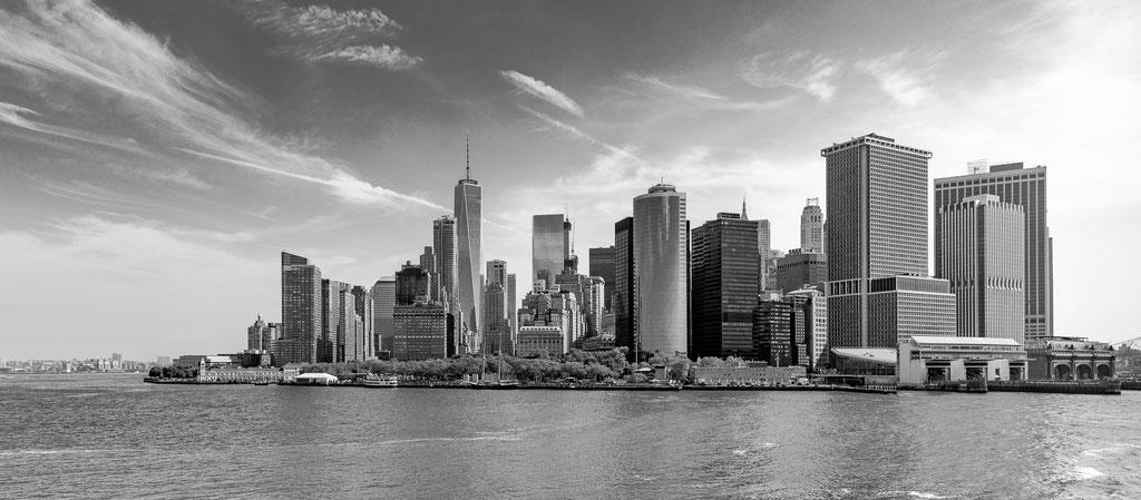 Skyline von Manhattan von Staten Island Ferry aus
