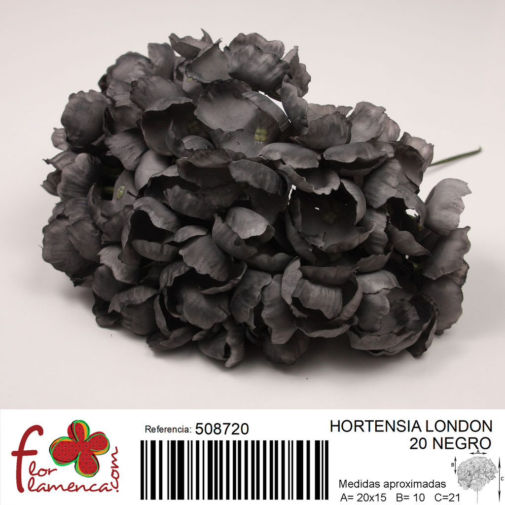 Hortensia Flor Flamenca modelo London color negro 20