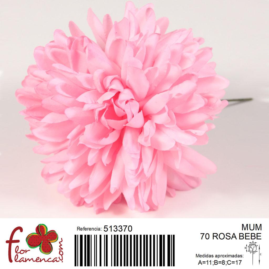 Crisantemo Flor Flamenca modelo Mum color rosa bebé 70