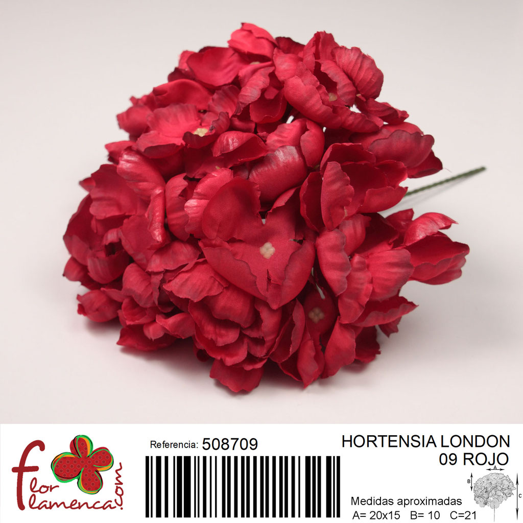 Hortensia Flor Flamenca modelo London color rojo 09